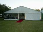 Outside 12 metre structure with red carpet