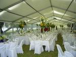 Inside 12 metre structure with table settings