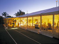 outside wedding marquee with clear walls